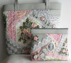 I ❤ crazy quilting & ribbon embroidery . . . simply beautiful stitching