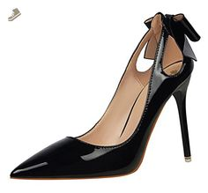 T&Mates Womens Patant Leather Pointy Toe Hollow Out Low Cut Stiletto High Heel Pumps Shoes (7 B(M)US,Black) - Tmates pumps for women (*Amazon Partner-Link)