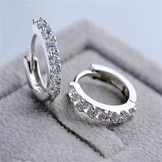 Buy 925 Sterling Silver Zircon Stone Hoop Earrings For Women on  KeiraFashions.com   Free Shipping WorldWide. Серебряные ... 4918c443e0c