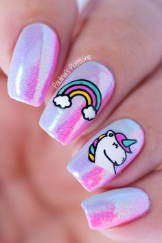 52 Ways and Decorations of Manicure - Nail Art Trendy Nail Art, Cute Nail Art, Cute Nails, My Nails, Unicorn Nails Designs, Unicorn Nail Art, Unicorn Hair, Little Girl Nails, Girls Nails