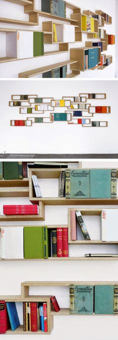 Beautiful Bookshelves from Aust & Amelung Steel Art, Storage Ideas, Bookshelves, Shelving, Desk, Architecture, Decoration, Simple, Awesome