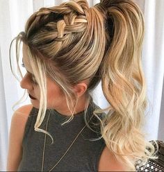 45 Elegant Ponytail Hairstyles for Special Occasions Double Braid Pferdeschwanz Long Ponytail Hairstyles, Braided Ponytail Hairstyles, Easy Hairstyles For Medium Hair, Casual Hairstyles, Medium Hair Styles, Short Hair Styles, Braid Ponytail, Fairy Hairstyles, Braids