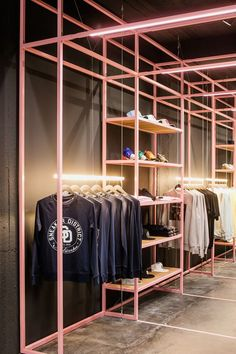 A Look Inside Antwerp's Sneaker District Store Sneaker District Store Antwerp Belgium Nike Raf Simons Kvadrat Elephant Print Architecture Design Interior Exterior Influence Inspiration Address Details Opening Boutique Interior, Clothing Store Interior, Clothing Store Displays, Clothing Store Design, Fashion Store Design, Pink Clothing Store, Clothing Racks, Fashion Stores, Clothing Stores