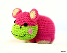 Baby Toy Crochet Amigurumi Hippo Soft and Safe Stuffed by Amichy, $35.00