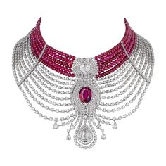 RosamariaGFrangini | HighJewellery Classic | Gem Palace - Cartier Reine Makéda Necklace with Rubies and Diamonds.