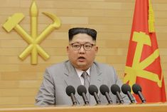 """""""Kim Jong-un giving his New Year's Day speech in Pyongyang, North   Korea, on Monday, according to the country's official news agency.   Photo Credit Korean Central News Agency, via Reuters."""""""