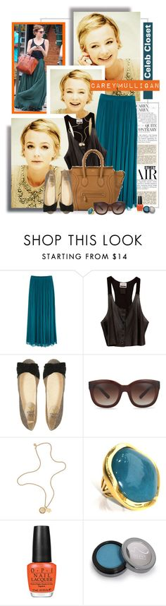 """""""Celeb Closet: Carey Mulligan"""" by tamara-p ❤ liked on Polyvore featuring Oasis, Under.Ligne, CÉLINE, Miss KG, Vince Camuto, Mulberry, Lola Rose, OPI and Hoover"""