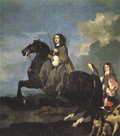 Sébastien Bourdon - Queen Christina of Sweden on Horseback