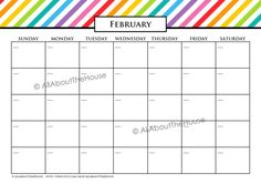 EDITABLE Printable Calendar Perpetual Calendar Rainbow Calendar 2013 2014 2015 Calendar Any Year Calendar Meal Planner Family Calendar Diary...