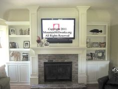 wall mount tv over fireplace... I wonder how well this would work with a full brick wall