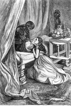 """""""The Sultan Pardons Scheherazade"""" by Arthur Boyd Houghton.  I doubt Scheherazade looked like that but it's such a cute Victorian illustration."""