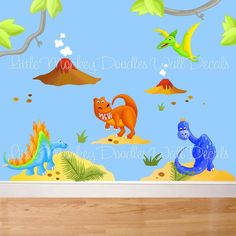 Dinotastic Dinosaur Large WALL DECALS Boy's Bedroom by ToadAndLily, via Etsy.