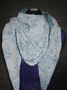 chèche foulard femme en coton liberty adeladja bleu avec galon pompons bleu  marine   Echarpe, e293188350c