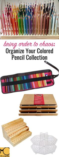 Lots of different ways to organize your colored pencils for drawing or coloring. The wooden ones are so pretty!