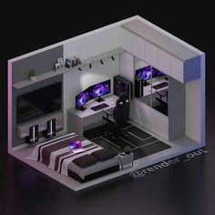 Gamer Bedroom, Bedroom Setup, Room Design Bedroom, Room Ideas Bedroom, Boys Bedroom Decor, Computer Gaming Room, Gaming Room Setup, Cool Gaming Setups, Best Gaming Setup