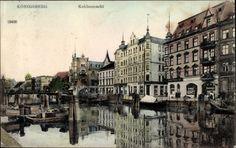 Königsberg Ostpreußen, Kohlenmarkt, Häuser am Wasser, Hinten links Synagoge