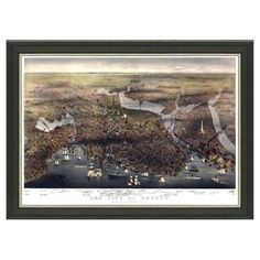 Check out this item at One Kings Lane! Boston Cityscape 18x22 currier & Ives