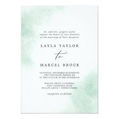 Watercolor Wash Green Traditional Wedding Invite with a simple splash of pastel sage green water color with elegant and classic style. Click to customize with your personalized details today. Traditional Wedding Invitations, Beautiful Wedding Invitations, Invitation Card Design, Wedding Invitation Design, Custom Invitations, Purple Wedding, Boho Wedding, Elegant Wedding, Wedding Announcements