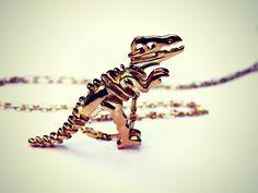 gold dinosaur necklace, T-rex necklace, dinosaur skeleton, skeleton necklace, bone necklace, kitsch necklace, long necklace
