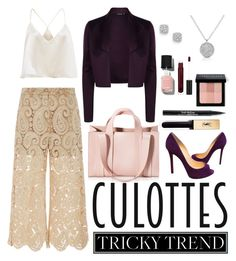 """Lace Culottes"" by meeshtell on Polyvore featuring self-portrait, Christian Louboutin, Bloomingdale's, Corto Moltedo, Trish McEvoy, Bobbi Brown Cosmetics, Chanel, Yves Saint Laurent, TrickyTrend and culottes"