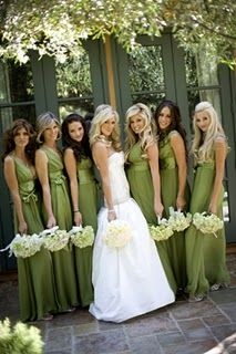 Olive green bridesmaid dresses for an olive green and topaz blue wedding #oliveandtopaz #wedding #dresses