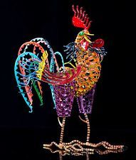 ROOSTER SCULPTURE BY O. HERNANDEZ IRON WIRE & PAPER MACHE MEXICAN FOLK ART MS01