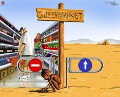 Голод — еще одна проблема, которая явно волнует Агаева. В одной иллюстрации он показывает и набитые продуктами полки супермаркета, и истощенного африканского ребенка.