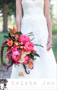 Favorite Bridal Bouquets of 2013 from Junebug Member Florists//  Krista Jon for Archive brings lush, tropical inspired bouquets to a whole new level. Absolutely gorgeous!. Photo by Jasmine Star