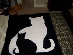 cat silhouette crochet afghan pattern, this and many others available