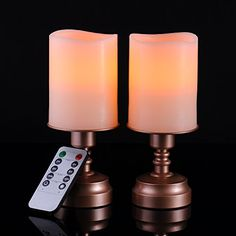 Flameless LED Candles Ivory Color with Antique Bronze Candlestick Base with 10Key Remote Control and 2 4 6 8 Hours Timer Function Included Set of  2  Height 7 *** This is an Amazon Affiliate link. Find out more about the great product at the image link.