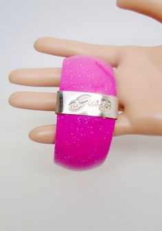 Vintage Guess Confetti Bright Neon Pink Bangle Stacking Bracelet Mod Modern  #Guess #WideBangle