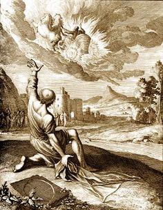 Artwork on Elisha watching Elijah being taken up to heaven