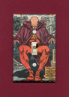 Dr. Druid meditates on his Johnson. Quality-made, one-of-a-kind comic book lightswitch plate. $14.95, free shipping in the U.S.