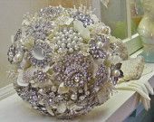 wedding Brooch bridal  bouquet SMALL  -pearls and rhinestones - silver  -made to order
