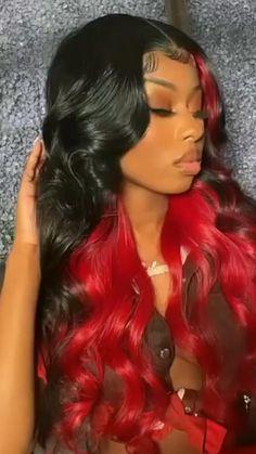 Birthday Hairstyles, Sew In Hairstyles, Baddie Hairstyles, Black Girl Weave Hairstyles, Red Ombre Hair, Hair Color For Black Hair, Colored Hair Dark Skin, Black Girl Red Hair, Girl Hair Colors