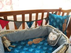 Baby nursery accessories by NOUSH: cushion and baby blankie with Wooden Clonette doll print + bunting...