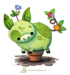 Daily Paint Pot-Bellied Pig by Cryptid-Creations Time-lapse, high-res and… Cute Animal Drawings, Kawaii Drawings, Cute Drawings, Gato Animal, Animal Puns, Cartoon Art, Cute Cartoon, Pot Belly Pigs, Dibujos Cute