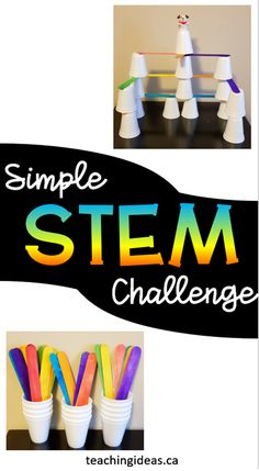 Challenge children with these hands on activities for kids. All you need are popsicle sticks, cups and for extra excitment, a small toy figure. Kids will love problem solving to build these creations. #popsiclesticks #buildingchallengesforkids #buildingchallenge #buildingchallengeskindergarten #handsonactivitiesforkidspreschool #handsonactivitiesforkids Educational Activities For Kids, Steam Activities, Preschool Learning, Hands On Activities, Fun Learning, Preschool Activities, Stem Projects For Kids, Science Projects, Kindergarten Stem