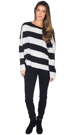 Silver Icing Sugar Cuddle Team Sweater #silvericing #style #stripes #stripedtops #stripe #stripesweater #winterfashion #winterfashion2017 #fashionista #getthelook #fuzzysweater #sweater #sweaterseason #blackandwhite #blackandwhitestripes