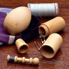 Boxwood Sewing Set, Darning Egg, Thimble, Thread Holder