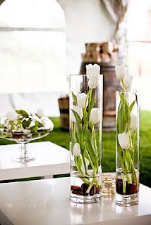 Love the use of the clear glass Cylinder Vases ~ Modern accents flowers in vase