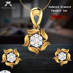 Buy Kadence Diamond Pendant Set designs represent the calmness in you Crafted in Yellow Gold for your tastes and demands. Star Pendant, Pendant Set, Pendant Jewelry, Gold Pendent, Diamond Pendant, Gold Mangalsutra Designs, Real Gold Jewelry, Jewellery Sketches, Antique Gold