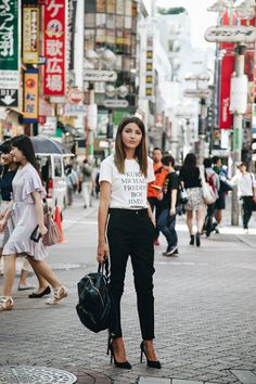 WITH DIESEL IN JAPAN - Lovely Pepa by Alexandra. White t-shirt with print+black pants+black pumps+black back pack. Summer Outfit 2016