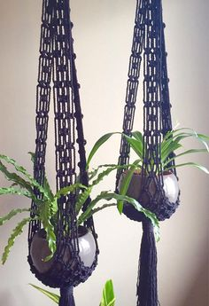 *NEW* Ready to Ship Section *This item ships the Next Business Day if ordered before 12 p.m. (noon) MST* Lovely Bohemian Style Macramé Plant Hangers Stella in Black Cotton Rope! A little bit of drama. Also work with Mid Century Modern and Jungalow Style Decor. Stella in White and