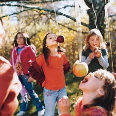 Tie food on a string and blindfold kids as they try to eat it.