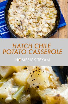 Hatch chile potato casserole, also known as funeral potatoes Hatch Recipe, Hatch Green Chili Recipe, Green Chili Recipes, Mexican Food Recipes, Hatch Chili, Potato Casserole, Casserole Recipes, Squash Casserole, Side Dish Recipes