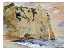 Cliffs of Etretat. the Pied Du Cheval, 1838 (W/C and Gouache on Paper) Giclee Print by Eugene Delacroix at Art.com