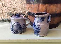 Vtg 1992 Rowe Pottery Works Cobalt Blue Salt Glazed Creamer Small ...