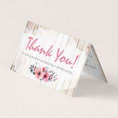 Rustic Wood Shabby Chic Roses Anemone Thank You Card - chic design idea diy elegant beautiful stylish modern exclusive trendy