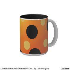 Customizable Dots On Blended OrangeToYellow Two-Tone Coffee Mug